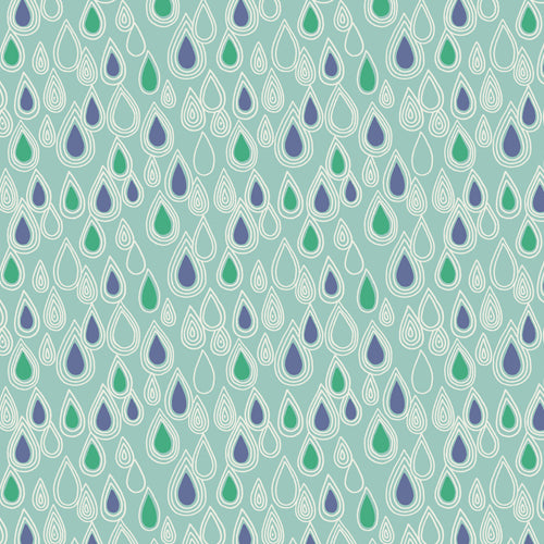 April Showers - Lewis & Irene - Raindrops - Aqua - BOLT END