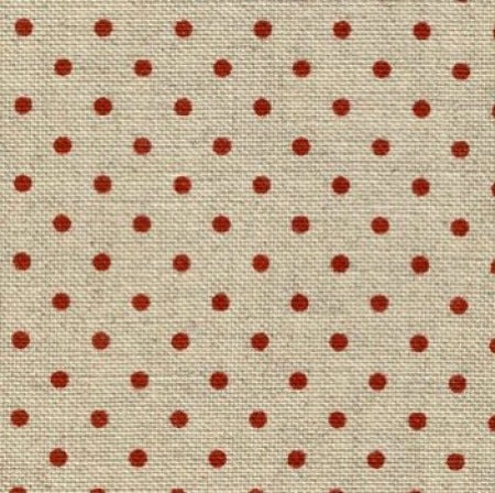 Zweigart Belfast 32 Count Linen Evenweave - Natural & Red Dot