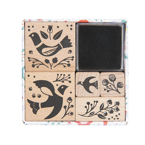 Birdie Wooden Stamp Set