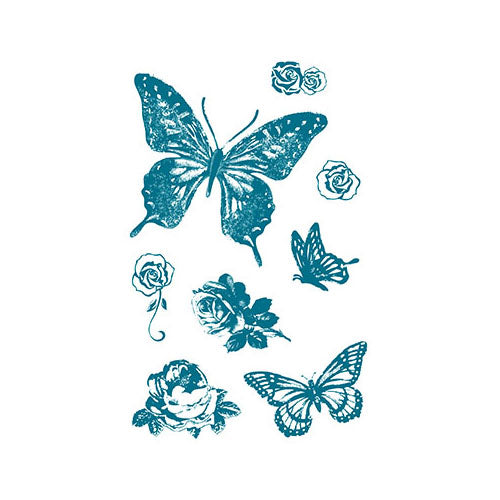 Butterfly and Roses Acrylic Stamp Set