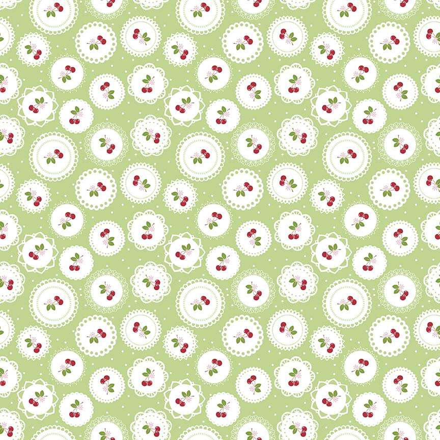 Sew Cherry 2 - Lori Holt - Doily Green - BOLT END