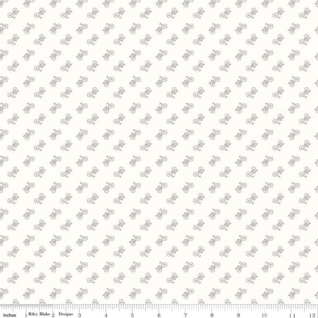 Bee Basics - Lori Holt - Backgrounds Bicycles Grey