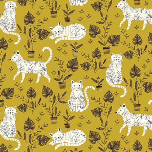 Cool for Cats - Dashwood Studio - Cats on Mustard
