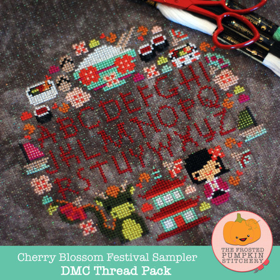 Frosted Pumpkin Stitchery - Cherry Blossom Festival Sampler DMC Thread Pack
