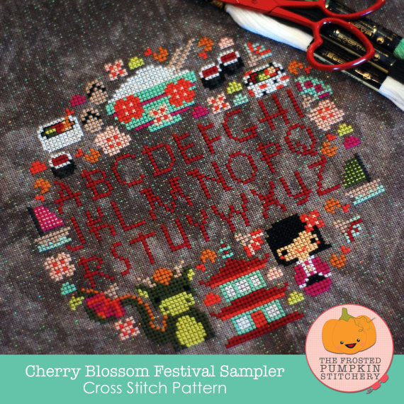 Frosted Pumpkin Stitchery - Cherry Blossom Festival Sampler Paper Pattern