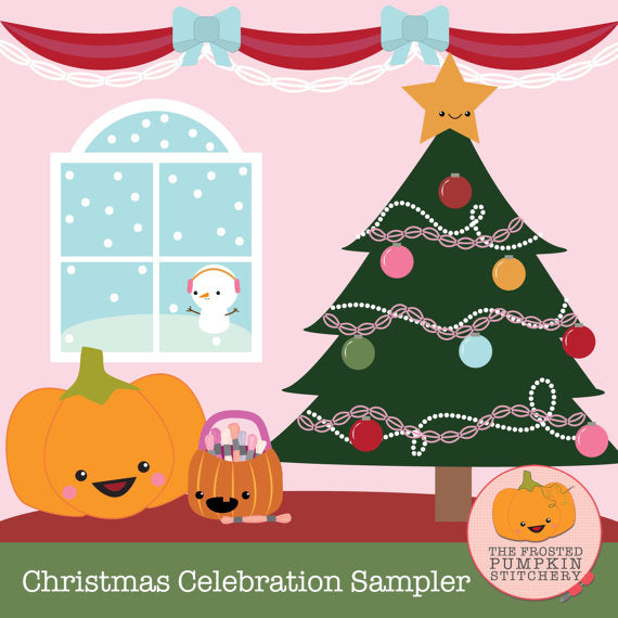 Frosted Pumpkin Stitchery Christmas Celebration Sampler Thread Pack