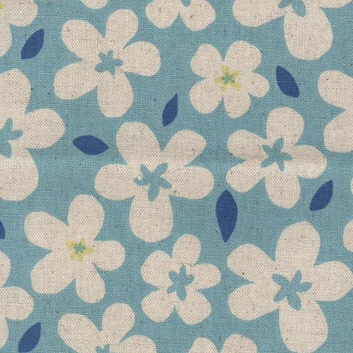 Sevenberry Flower Pop Linen - Aqua