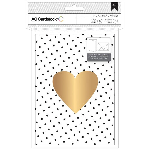 Gold Foil Heart Cards and Envelopes