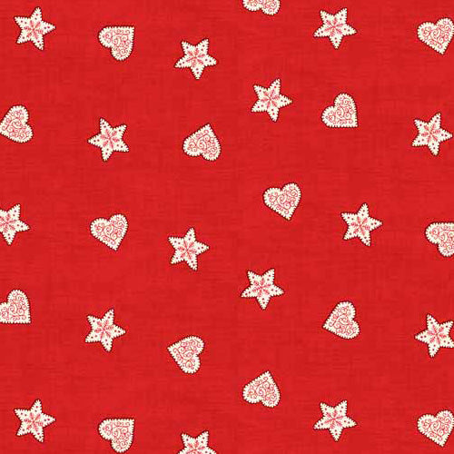 Scandi - Makower - Stars & Hearts Red
