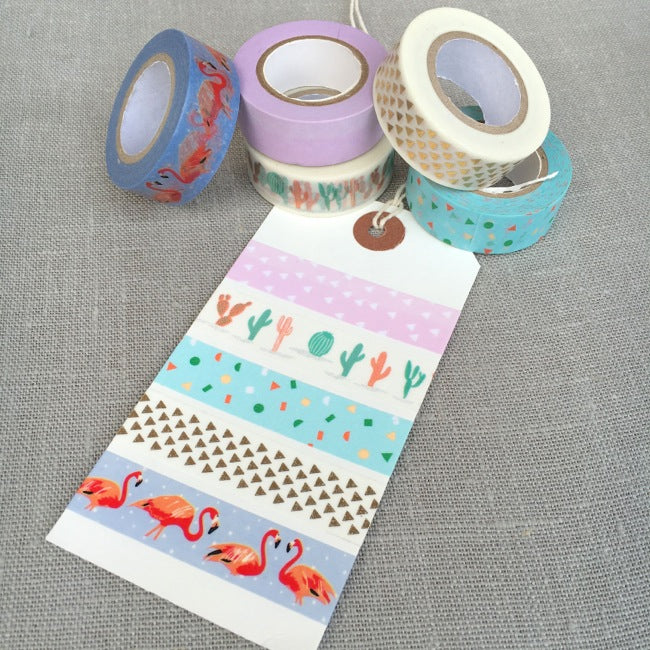 Tropical Spring Washi Tape Set - Flamingo