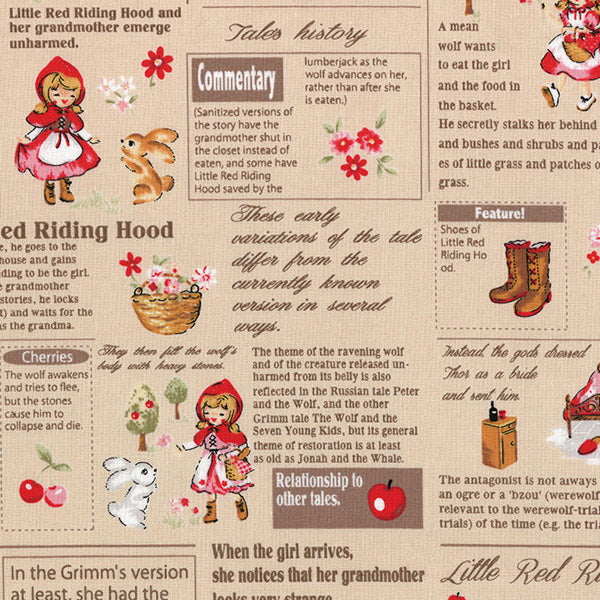 Lecien - Little Heroines - Newsprint Red - Beige