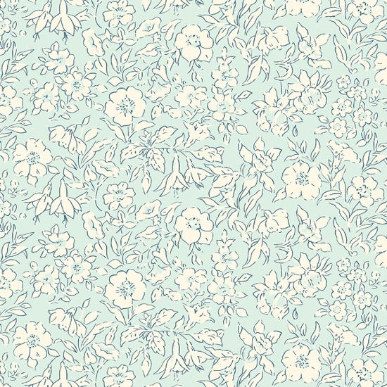 Liberty - The Cottage Garden - Morning Dew - Light Blue