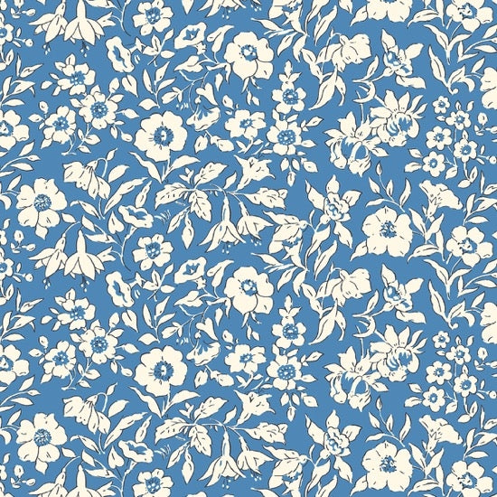 Liberty - The Cottage Garden - Morning Dew - Dark Blue