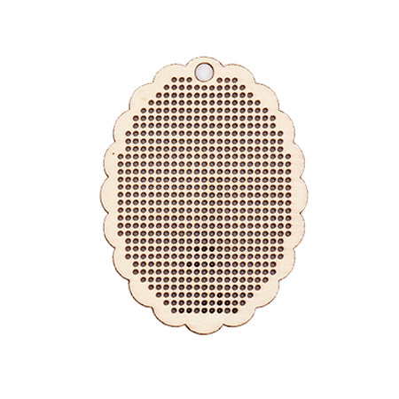 Scalloped Oval Wooden Cross Stitch Pendant