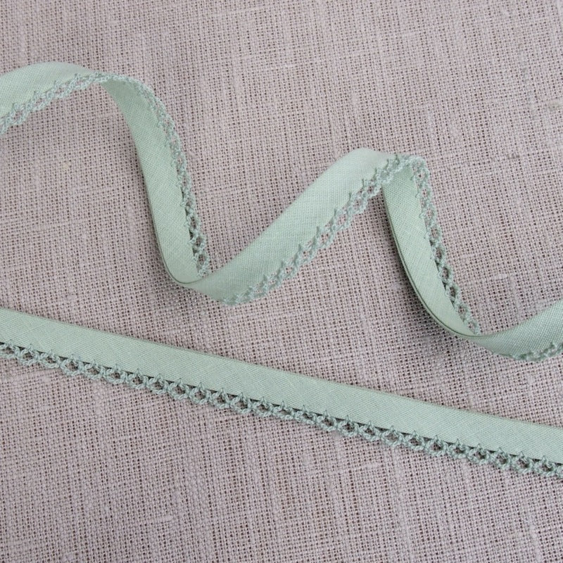Sage Green Lace Edge Bias Binding -18mm