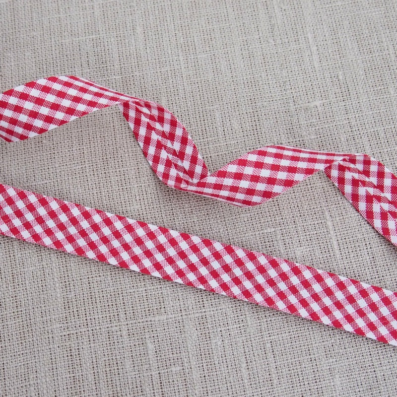 Red Gingham Bias Binding -18mm