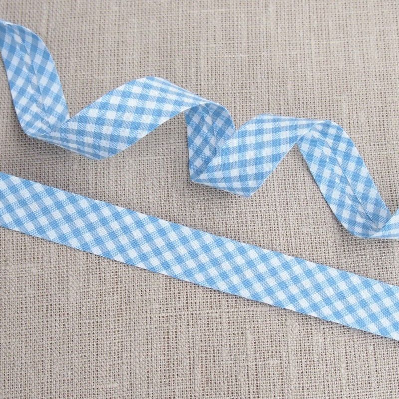 Blue Gingham Bias Binding -18mm