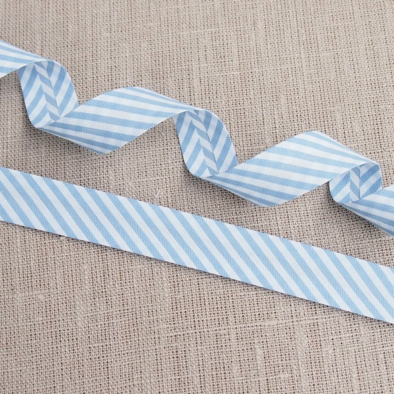 Blue Stripe Bias Binding -18mm