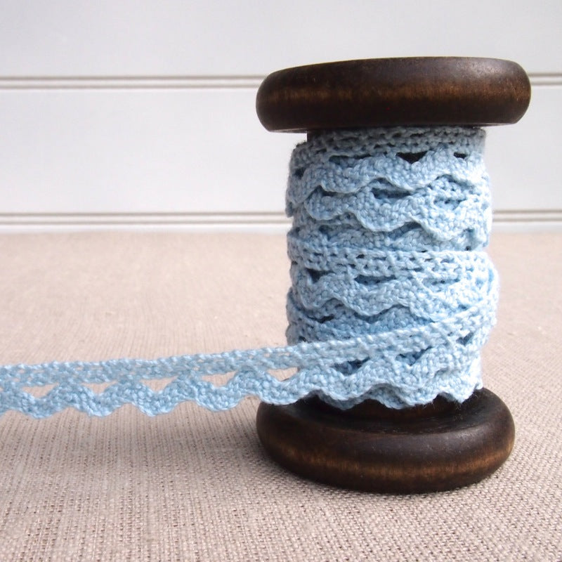 Blue Scalloped Crochet Lace Trim