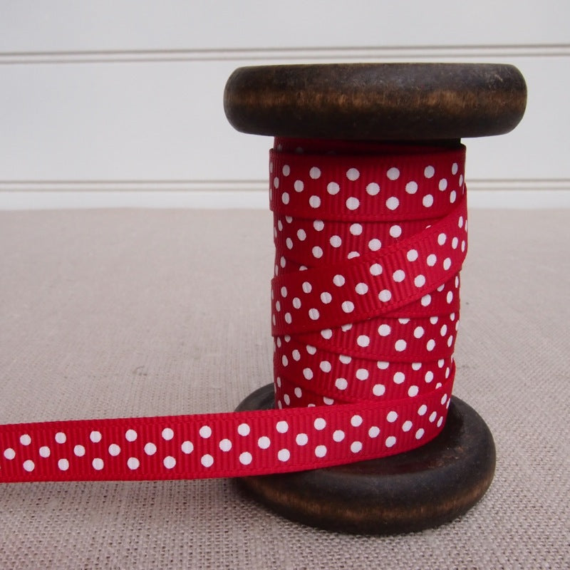 Red Polka Dot Grosgrain Ribbon - 9mm