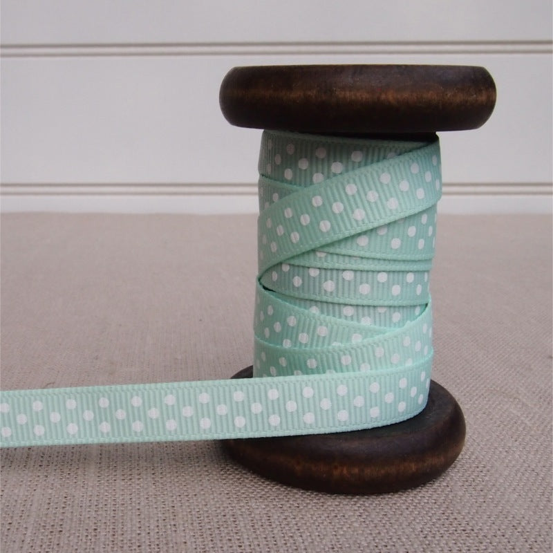 Mint Polka Dot Grosgrain Ribbon - 9mm