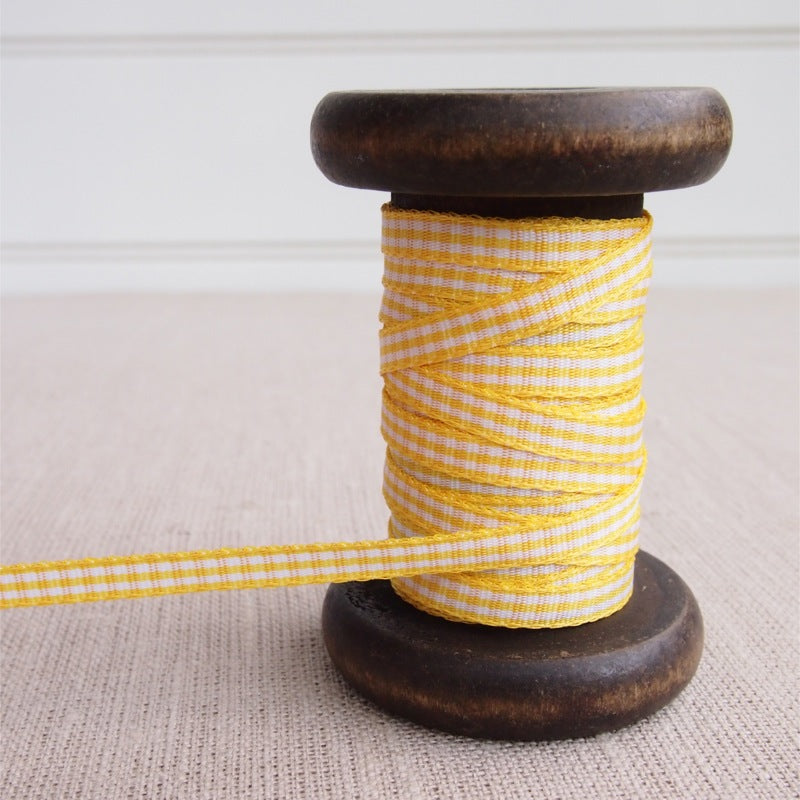 Yellow Gingham Ribbon - 5mm