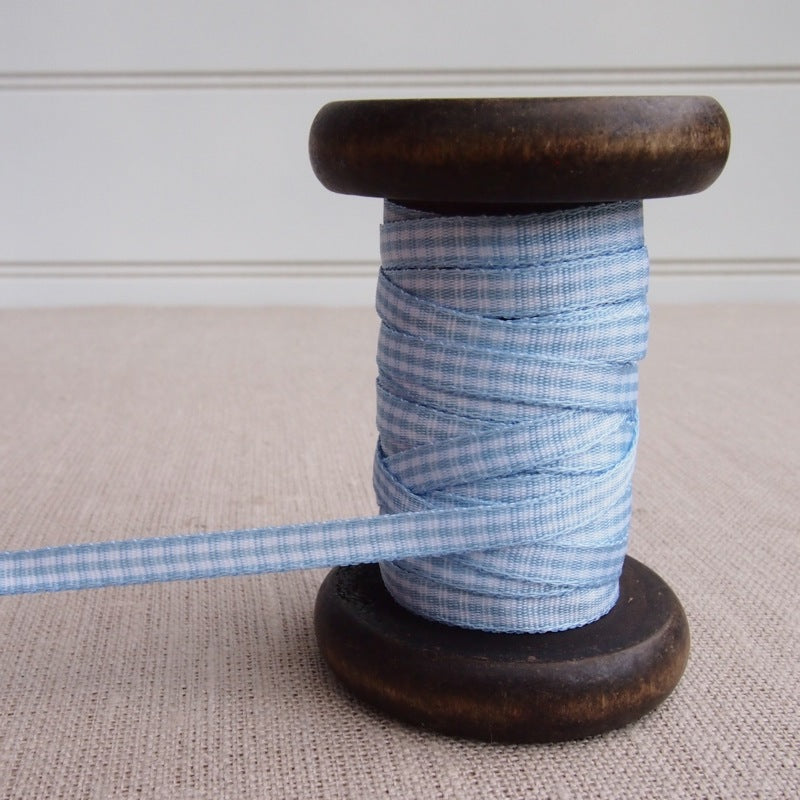 Blue Gingham Ribbon - 5mm