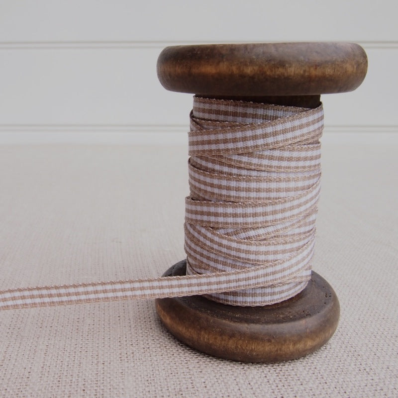 Taupe Gingham Ribbon - 5mm
