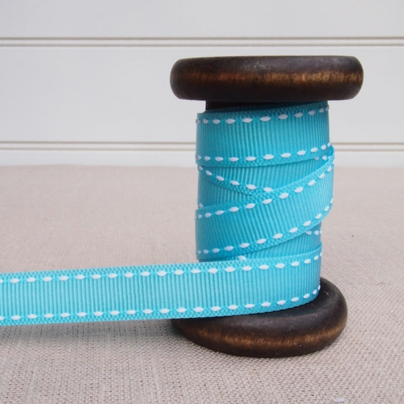Blue Saddle Stitch Grosgrain Ribbon - 13mm