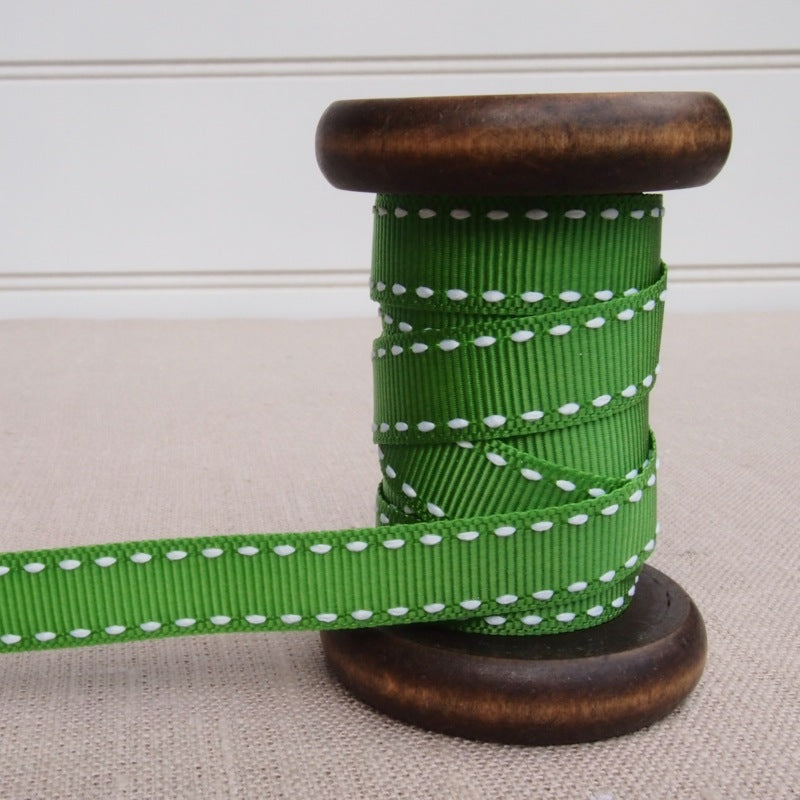 Green Saddle Stitch Grosgrain Ribbon - 13mm