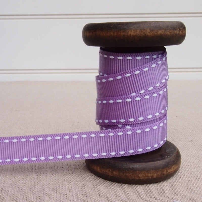 Lavender Saddle Stitch Grosgrain Ribbon - 13mm