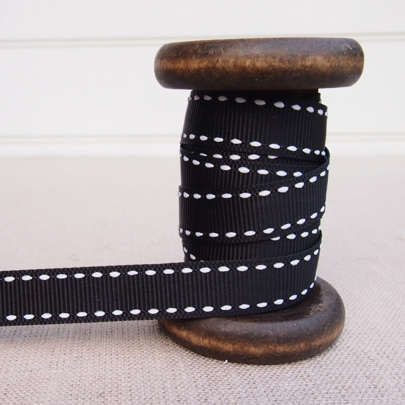 Black Saddle Stitch Grosgrain Ribbon - 13mm