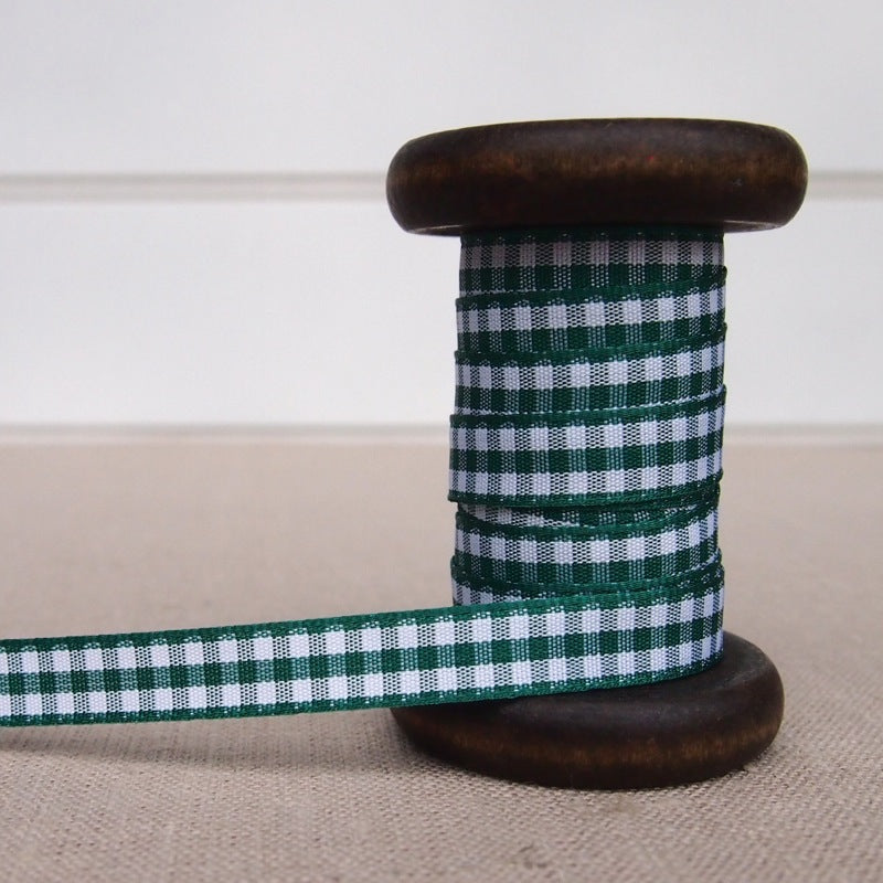 Green Gingham Ribbon - 10mm