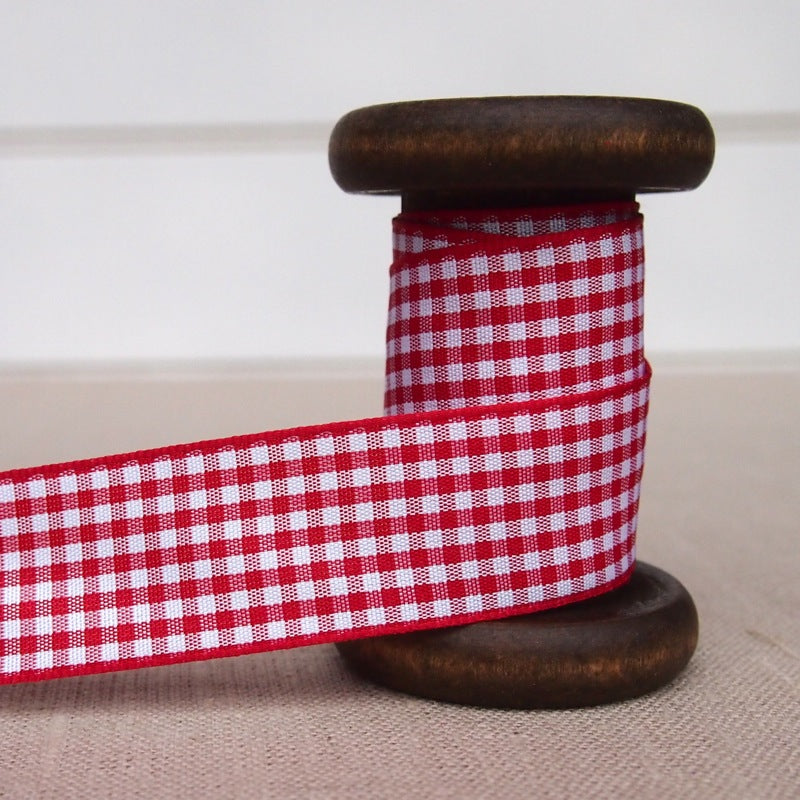 Red Gingham Ribbon - 25mm