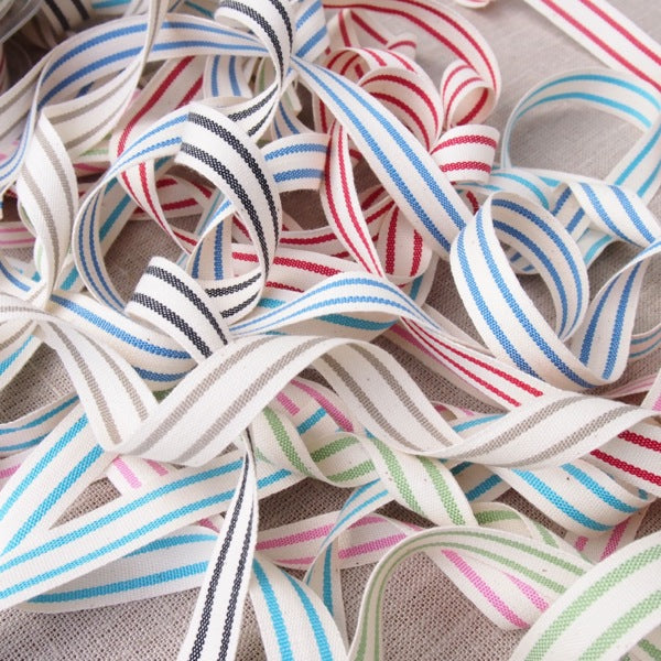 May Arts Organic Cotton Stripe Ribbon - 15mm