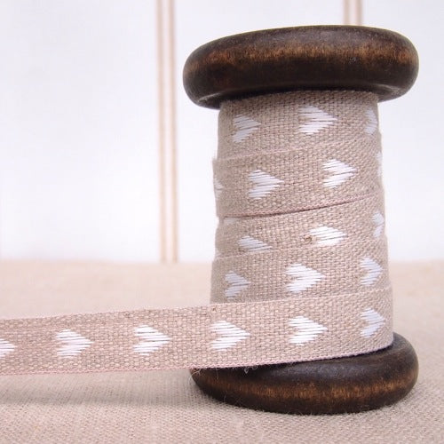 White Woven Heart Linen Ribbon - 11mm