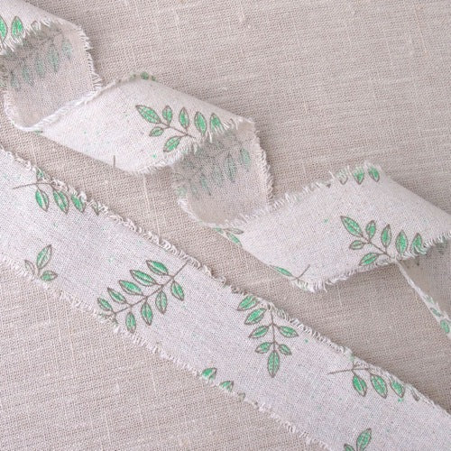 Leaf Burlap Ribbon - 50mm
