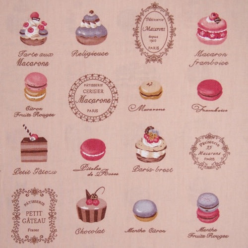 Tan French Patisserie Fabric