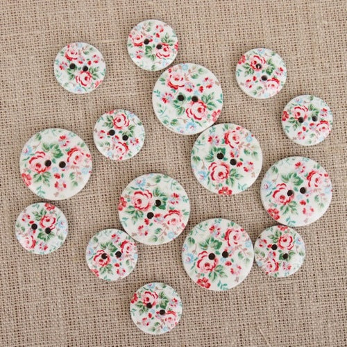 Vintage Rose Wooden Buttons