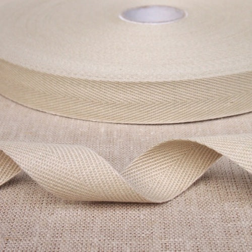 Cotton Herringbone Webbing - Beige
