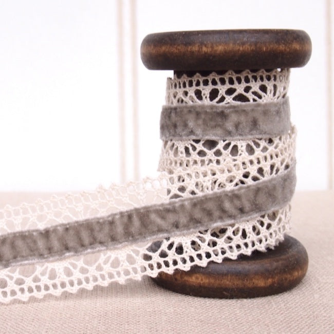 Grey Velvet Crochet Lace Trim