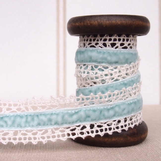 Blue Velvet Crochet Lace Trim