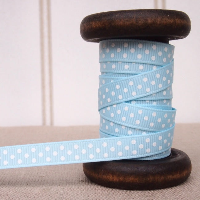Light Blue Polka Dot Grosgrain Ribbon - 9mm