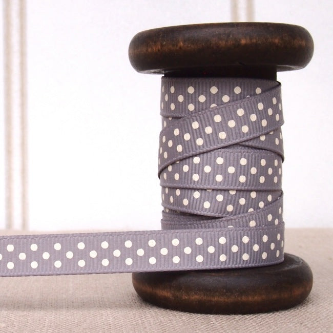 Grey Polka Dot Grosgrain Ribbon - 9mm