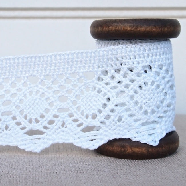 Crochet Lace Trim - 55mm - White