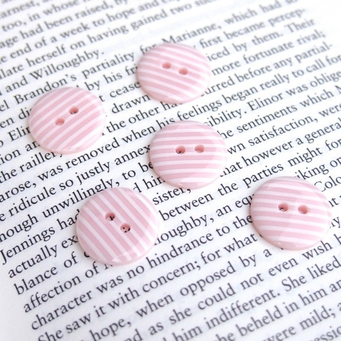 Baby Pink Stripe Buttons