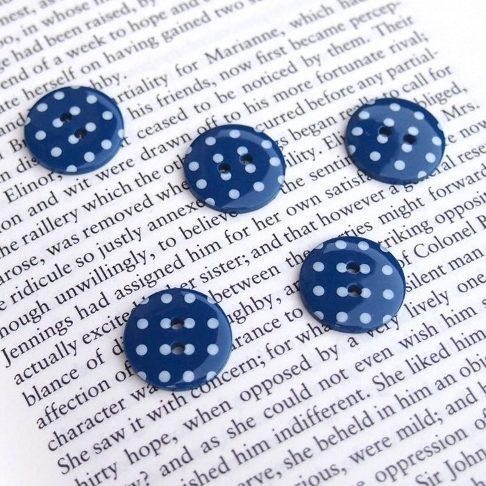 Navy Polka Dot Buttons