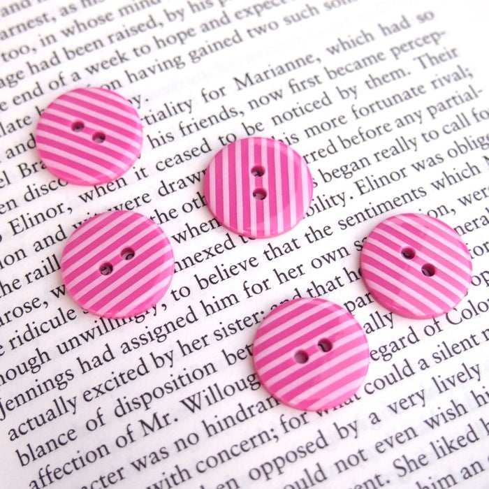 Pink Stripe Buttons