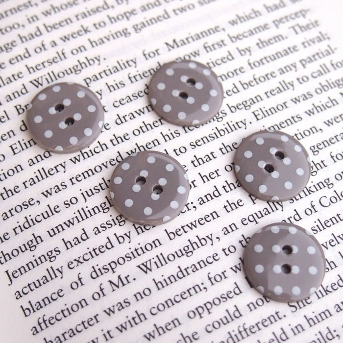 Grey Polka Dot Buttons