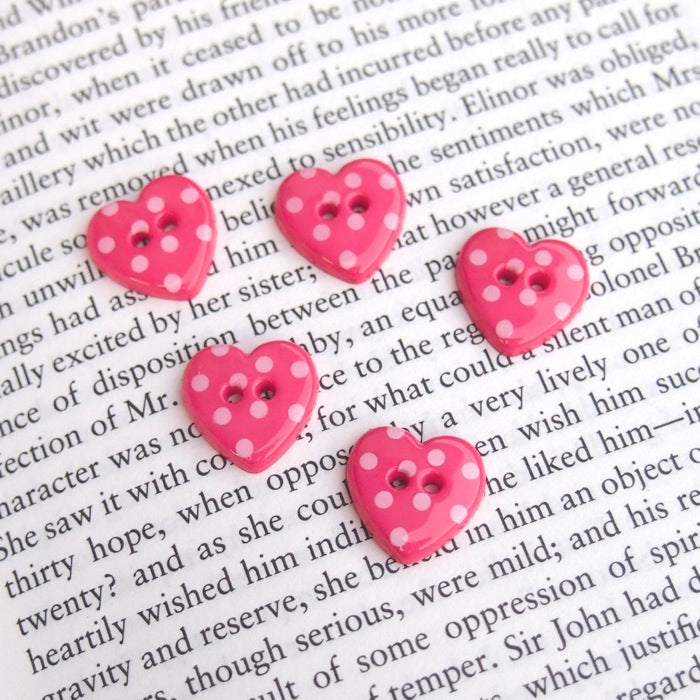 Pink Polka Dot Heart Buttons